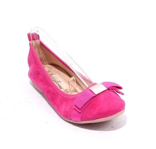 Pink Silver Suede Leather Bow Comfort Ballet Flats
