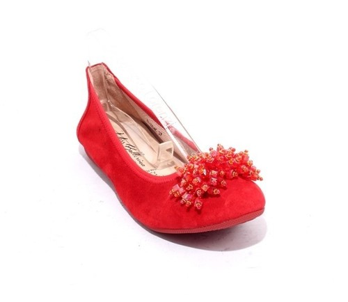 Red Suede Leather Crystal Accessory Ballet Flats
