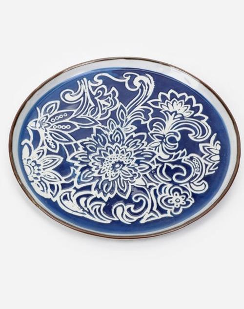 Blue & White Large Stoneware Plate