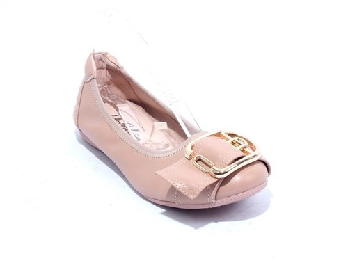Nude Gold Leather Comfort Buckle Ballet Flats
