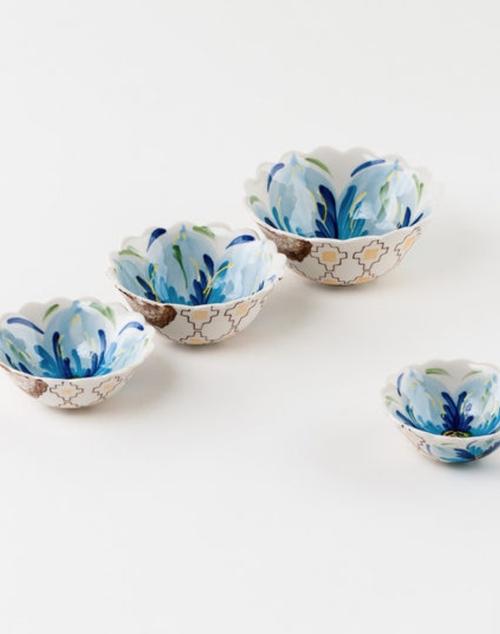 Stoneware Flower Dipping Bowl Set