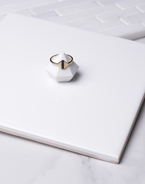 Diamond Shape Black CZ Ring
