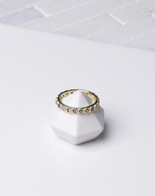 Band Rainbow Stone Ring
