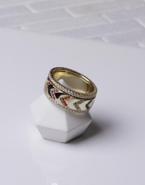 Cheveron Multi Stone Spinner Ring
