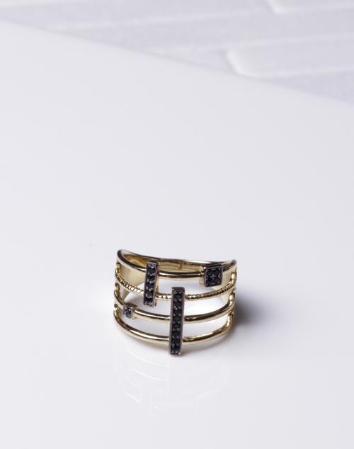 Thick Black CZ Bar Ring