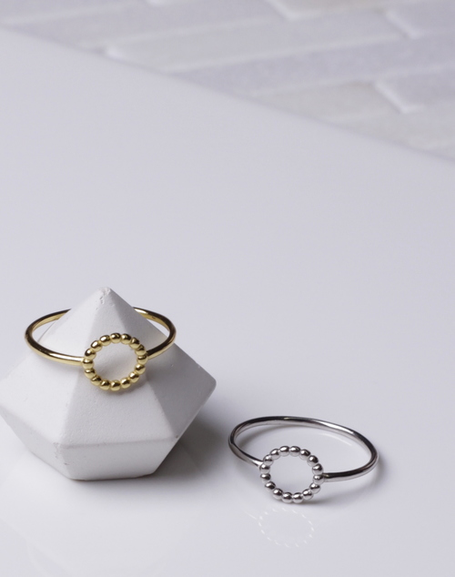 Beaded Open Circle Ring