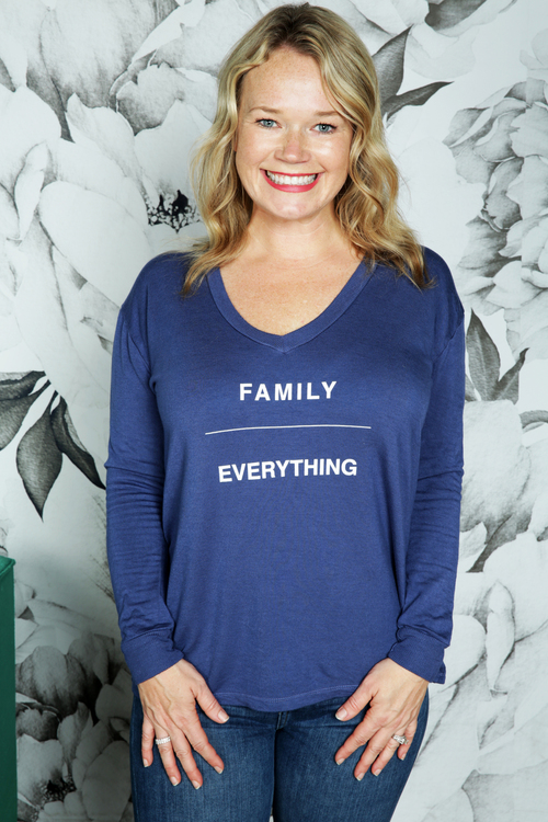 Family/Everything Long Sleeve V-Neck Pullover