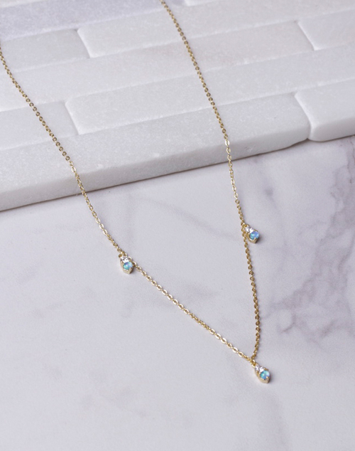 Blue Opal Charm Necklace