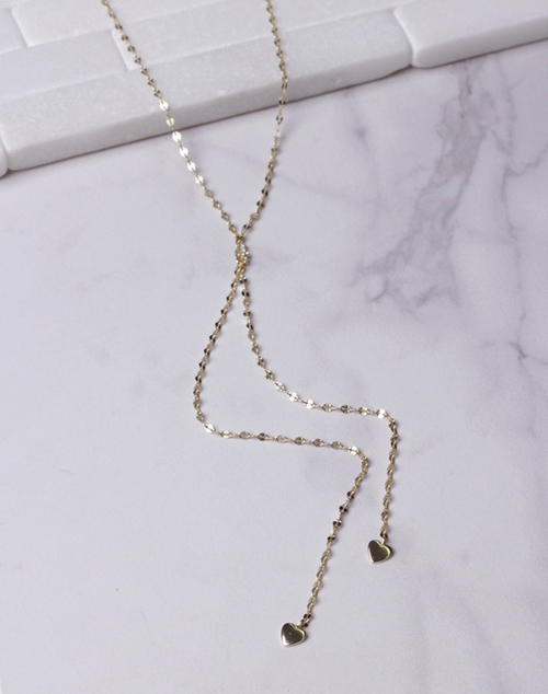 Glitzy Chain Lariat Heart Charm