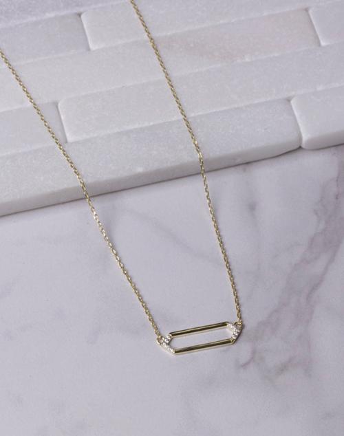 Hexagon CZ Necklace