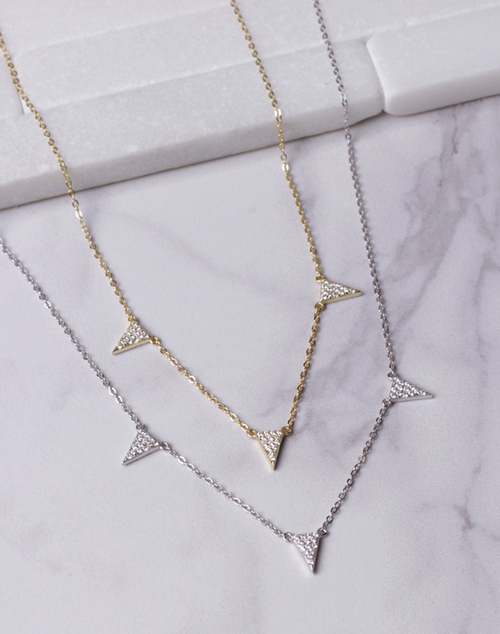 Multi CZ Triangle Charm Necklace