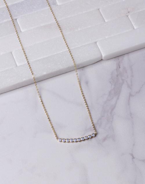 Bezel Blue Stone Necklace