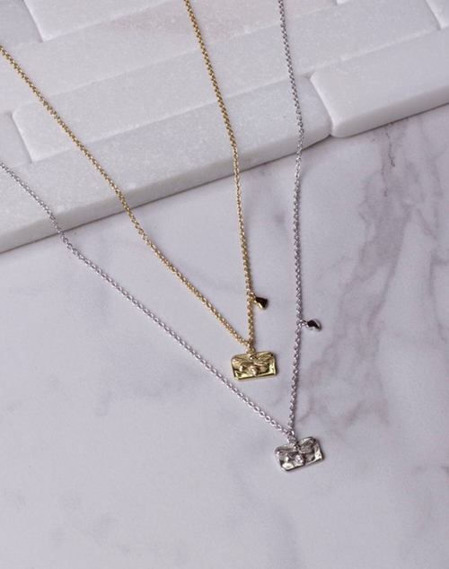Small Bee Rectangle Charm Necklace