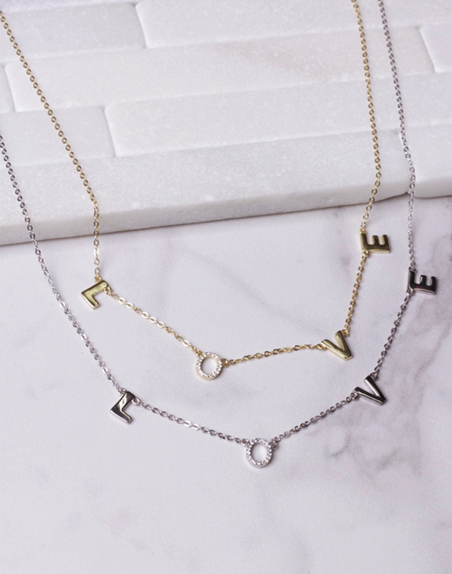 Simple LOVE & CZ Necklace