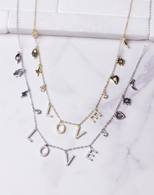 LOVE CZ  Charm Necklace