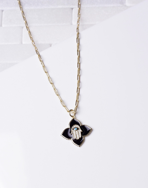 Black Enamel CZ Hamsa Hand Necklace