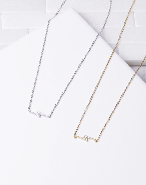 CZ Sideways Lightning Bolt Necklace