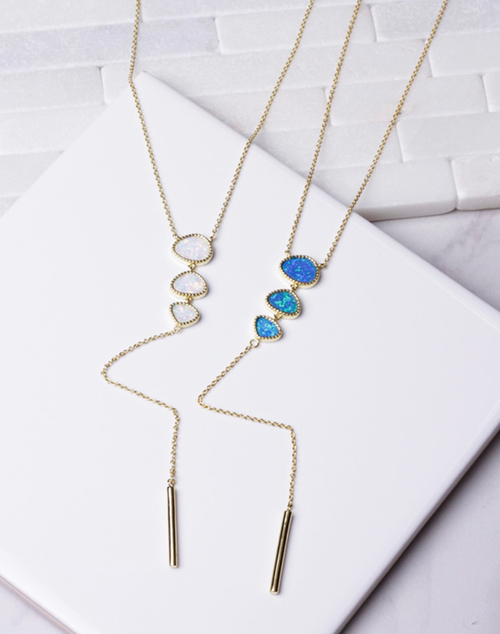 Opal Triple Drop Lariat - 14K Gold Plated