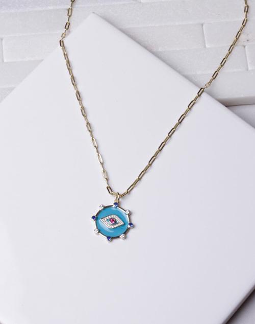 Turquoise Enamel Drop Evil Eye Necklace