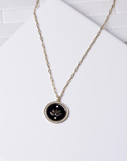 Black Enamel Lotus Flower Necklace