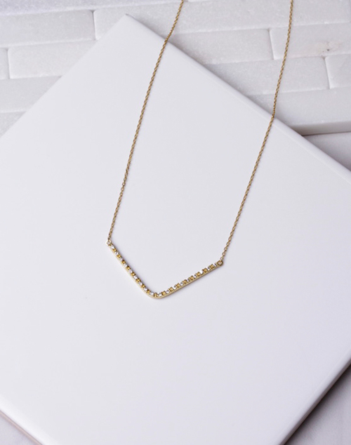 Large V CZ Necklace