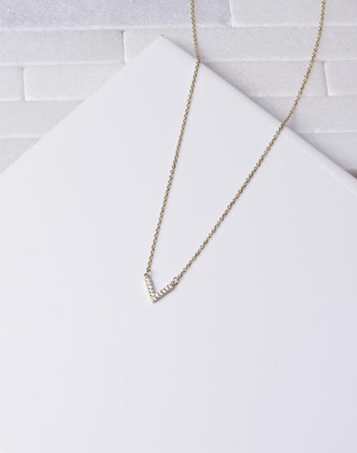 Small CZ V Necklace