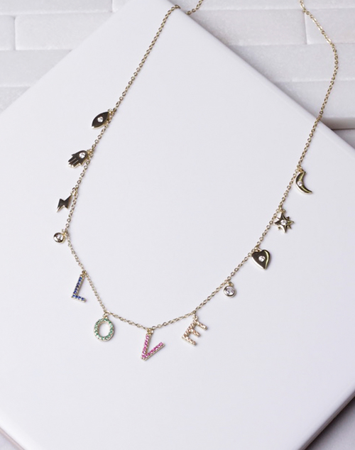 LOVE Rainbow CZ Charm Necklace