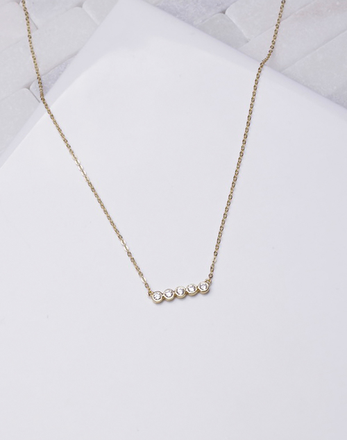 Bezel CZ Bar Necklace