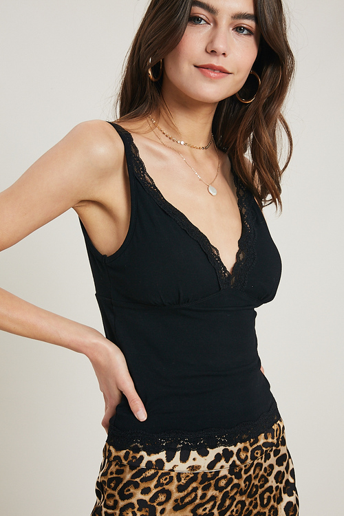 Wishlist Black Cropped V Neck Cami