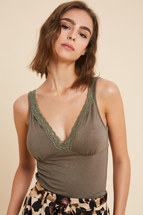 Wishlist Olive Cropped V Neck Cami