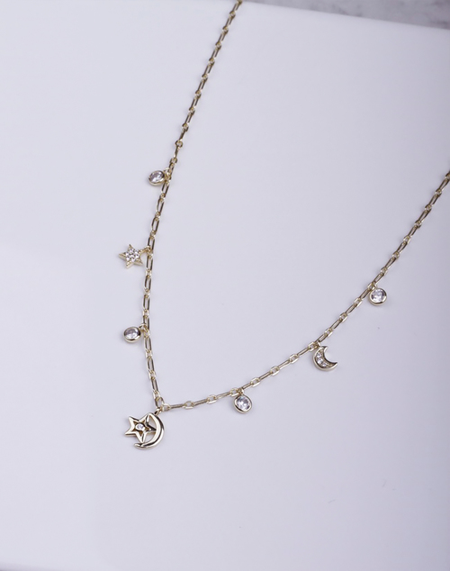 Moon & Star Bezel Chain Link Necklace