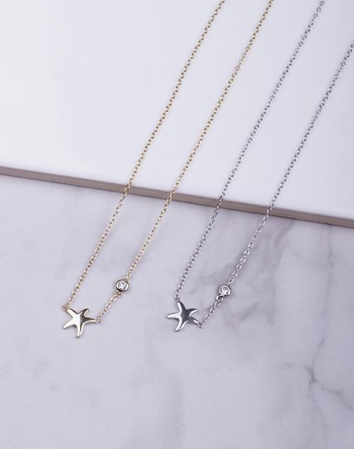 Tiny Starfish CZ Drop Necklace