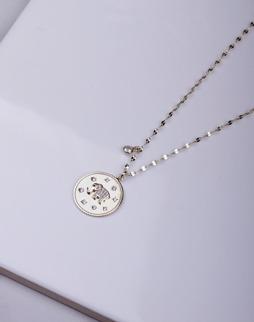 CZ Elephant Coin Glitzy Necklace