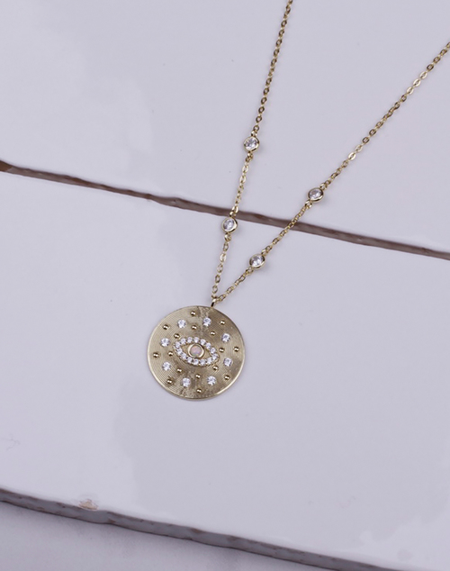 Bezel CZ Opal Evil Eye Disc Necklace