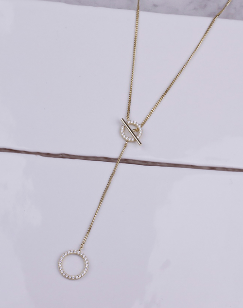 CZ Circle Bar Lariat Necklace
