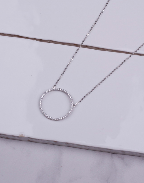 Hollow CZ Circle Necklace