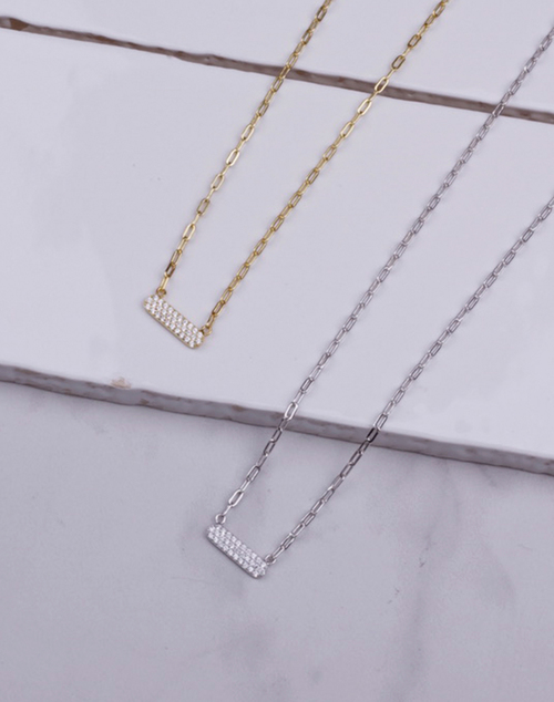 Pave CZ Bar Chain Link Necklace