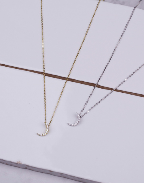 Small CZ Crescent Moon Necklace