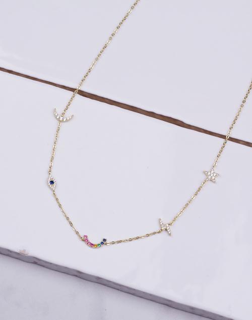 Evil Eye Rainbow CZ Charm Necklace