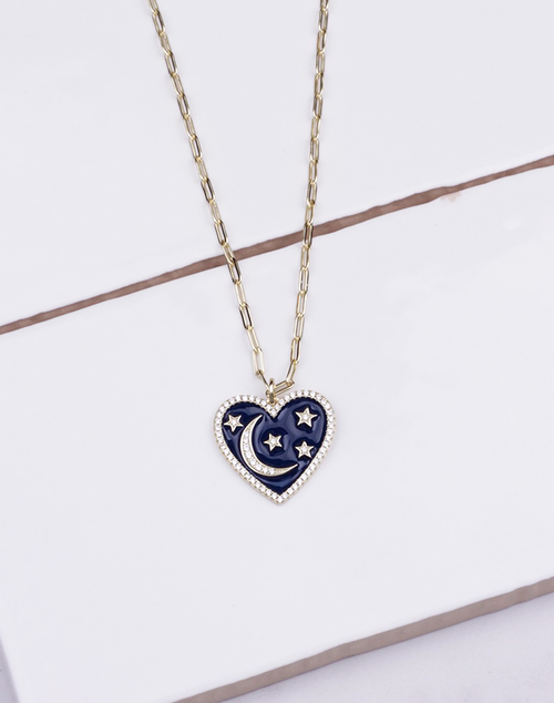 Heart Enamel Black Moon Necklace