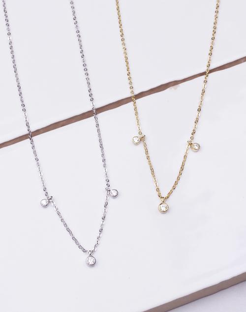 CZ Bezel Triple Drop Necklace