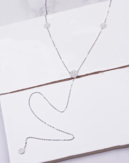 CZ Pave Circle Lariat Simple Necklace