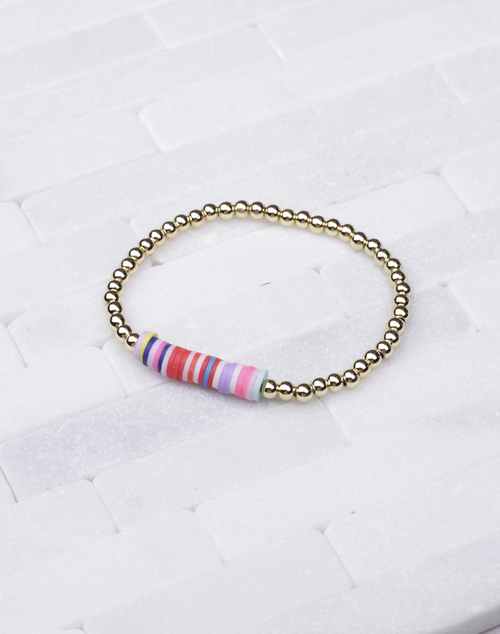 Multi Disc Gold Ball Bead Bracelet