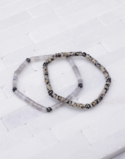 Stackable Disc Bead CZ Bracelet