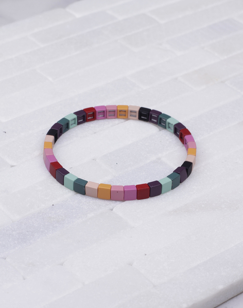 Tiny Sq. Lacquered Stretch Bracelet
