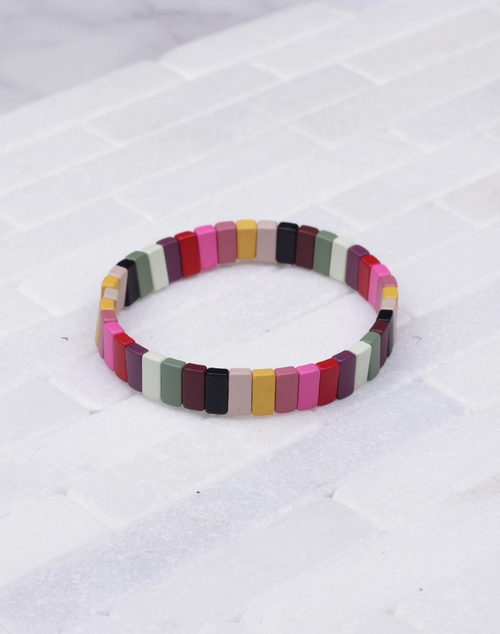 Small Multi Colored Lacquered Stretch Bracelet