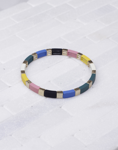 Sq. & Rec. Lacquered Stretch Bracelet