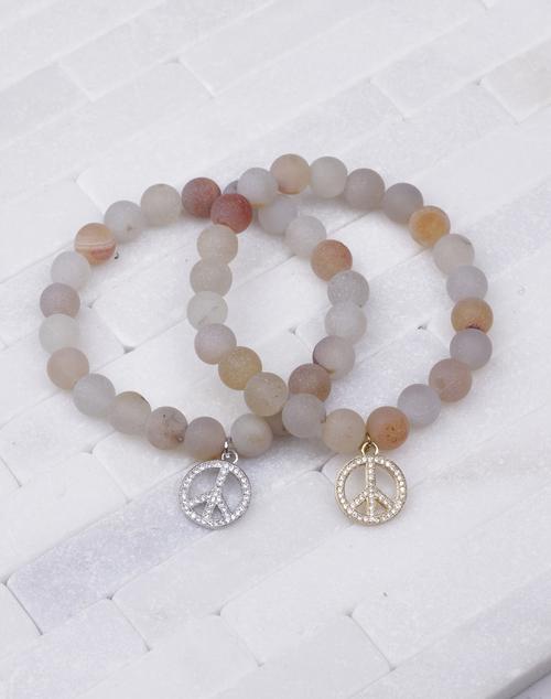 Semi Precious Natural Stone Peace Bracelet