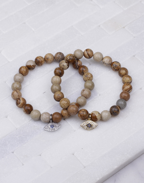Semi Precious Brown Stone Evil Eye Bracelet