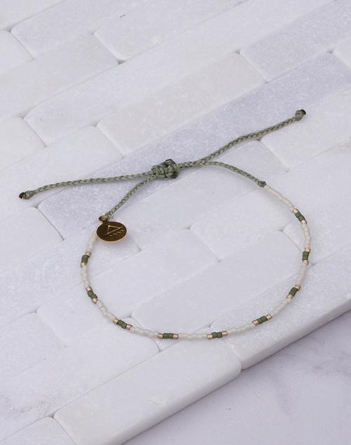 Gold & Olive Two Tone Dot Bracelet